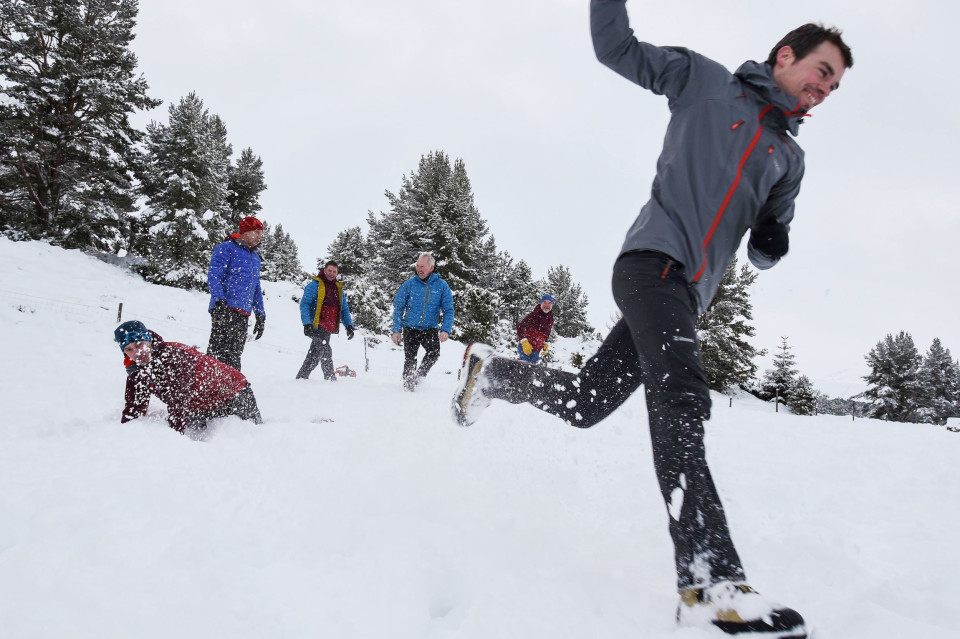 rab testing outdoor equipment in snow
