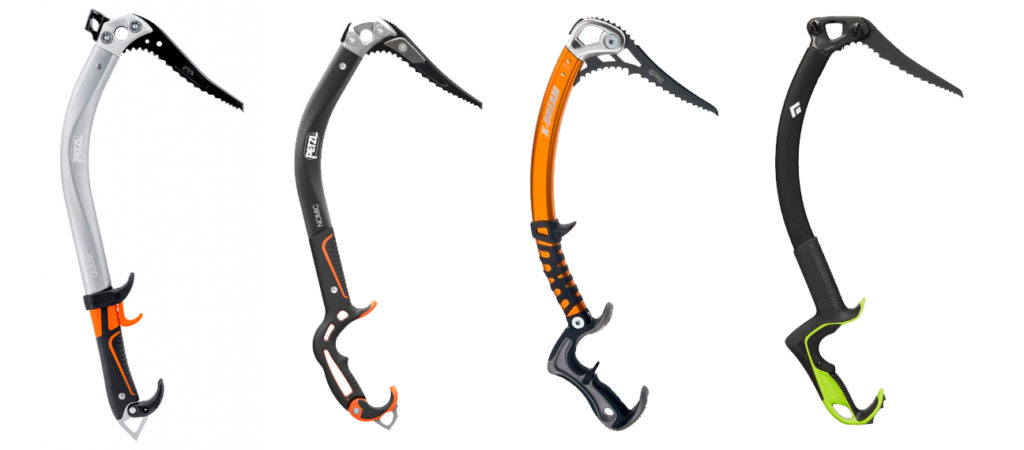 Petzl Quark, Petzl Nomic, Cassin X-Dream ja Black Diamond Reactor