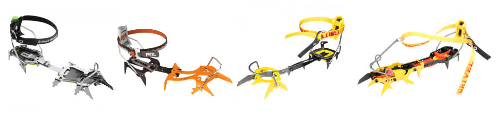 Black Diamond Stinger, Petzl Dart, Grivel G20 PLUS ja Grivel Rambo 4