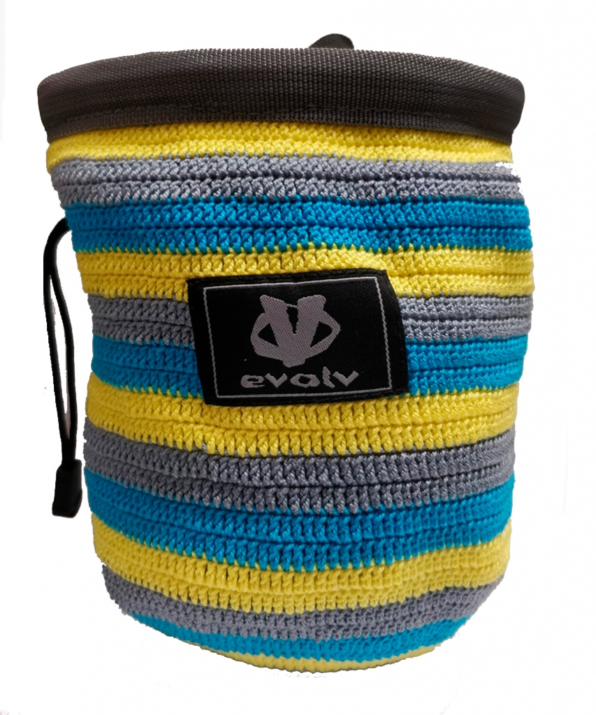 Evolv Sports Chalk Bag Knit -Mankkapussi Yellow Grey Turquoise