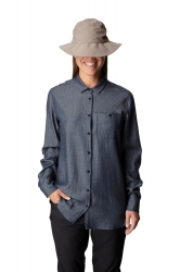 Houdini Out And About Shirt (W) -merino-lyocell kauluspaita Blue Illusion