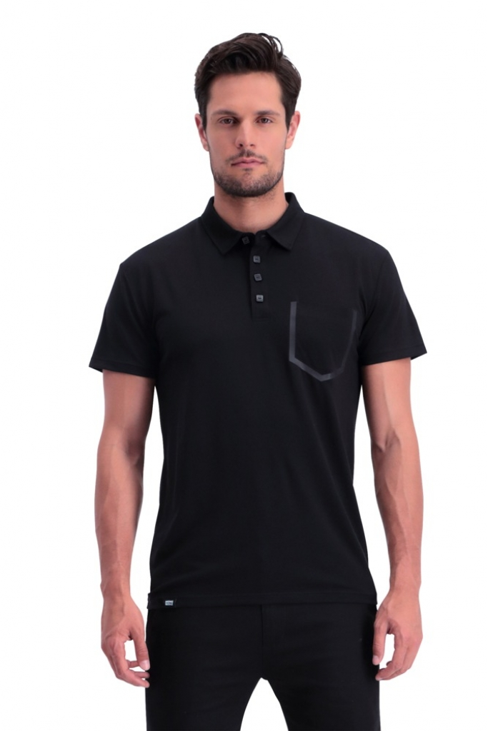 Mons Royale Harvey Polo -merinovilla polo-paita Black
