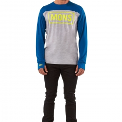 Mons Royale Yotei Tech LS -Merinopaita Grey Marl/Oily Blue